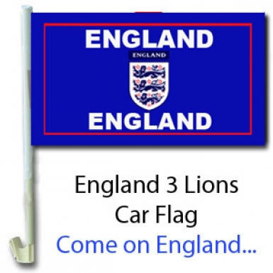 England 3 Lions Car Flag