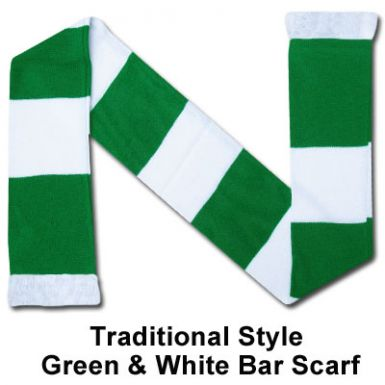 Green & White Bar Scarf