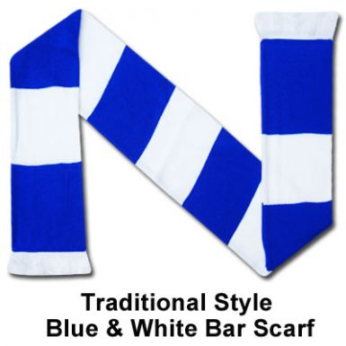 Blue & White Bar Scarf