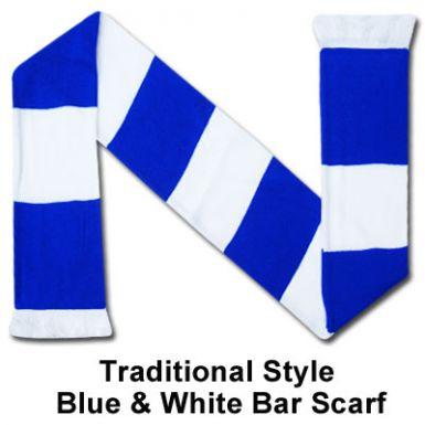 Blue & White Bar Scarf