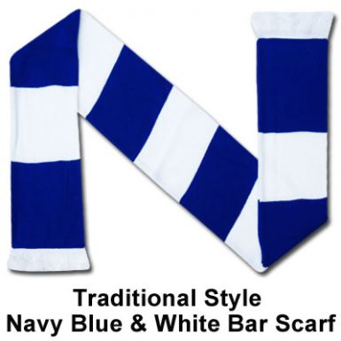 Navy Blue & White Bar Scarf