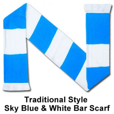 Sky Blue & White Bar Scarf
