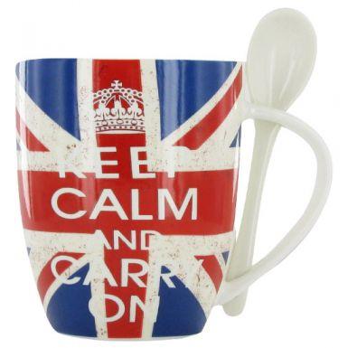 Keep Calm & Carry On Mug & Spoon Set