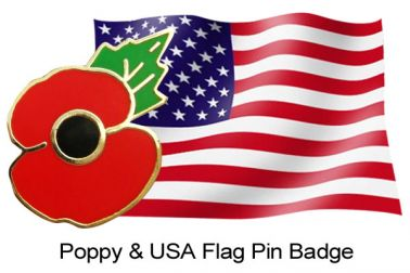 Poppy & USA Flag Pin Badge