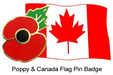 Canada Flag & Poppy Remembrance Pin Badge