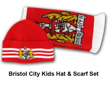 Bristol City Kids Hat & Scarf Set