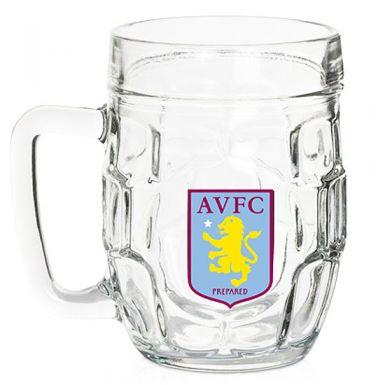 Aston Villa Crest Dimple Pint Glass
