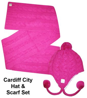 Cardiff City Ladies Chunky Hat & Scarf Set