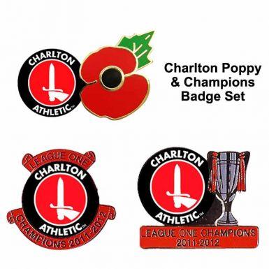 Charlton Poppy & Champions Badge Set