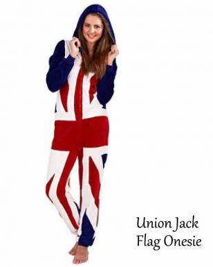 Ladies Union Jack Flag Fleece Onesie