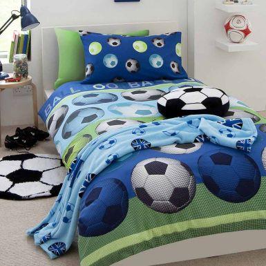 Blue Football Duvet Cover Set for Single Bed