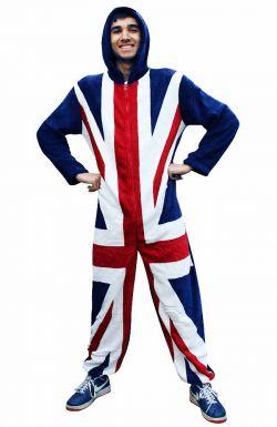 Mens Union Jack Flag Fleece Onesie
