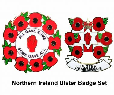 Northern Ireland Ulster Poppy Badge Set