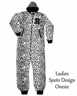 Ladies Spots Print Fleece Onesie
