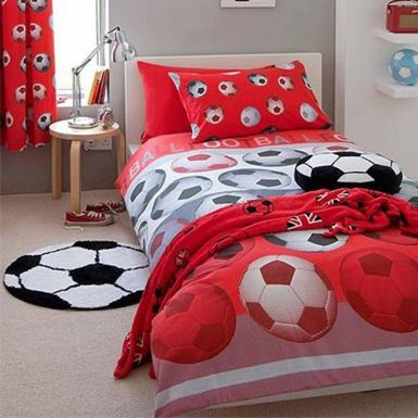 Red Football Duvet Cover Set for Single Bed