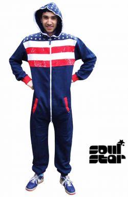 Mens USA Stars & Stripes Fleece Onesie
