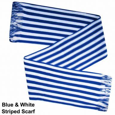 Royal Blue & White Striped Fashion Scarf