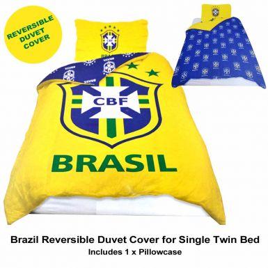Brazil Football Single Size Duvet Cover & Pillowcase Bed Linen Set