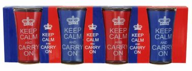 Set of Four Keep Calm & Carry On Shot Glasses