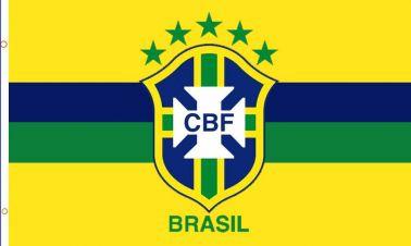 Giant Brazil Football Crest Flag