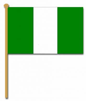 Nigeria Hand Waving Flag with Stick