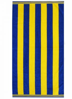 Giant Yellow & Blue Striped Premium Cotton Beach Towel