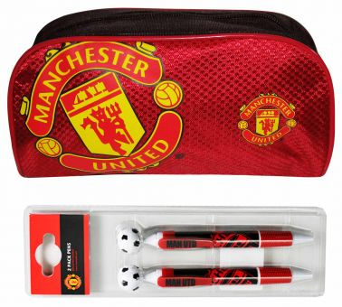 Man Utd Pencil Case & 2 Pen Set