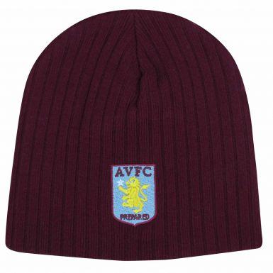 Aston Villa Ribbed Crest Beanie Style Hat