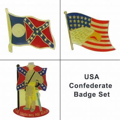 Confederate Rebel Pin Badges