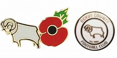 Derby County Football Crest & Poppy Badge Set