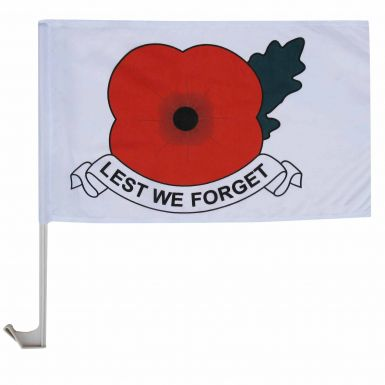 Lest We Forget Poppy Remembrance Car Flag