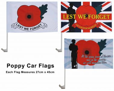 Set of Three Poppy Remembrance Car Flags