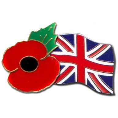 Poppy & Union Flag Pin Badge