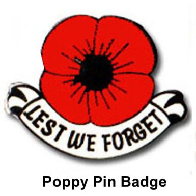 Lest We Forget Poppy Pin Badge