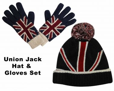 Union Jack Knitted Hat & Gloves Set