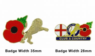 Millwall Poppy Remembrance Pin Badge Set