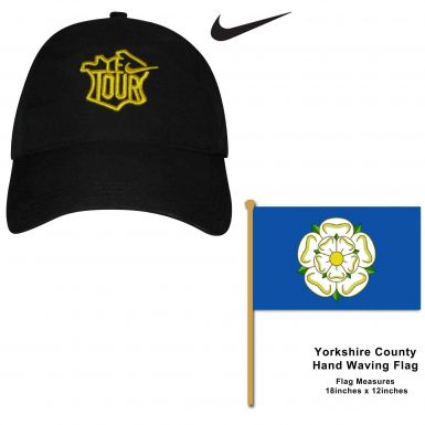 Tour de France Baseball Cap & Yorkshire Hand Waving Flag Set