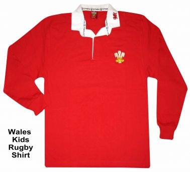 Wales Kids Retro Rugby Shirt