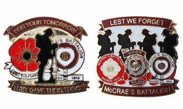 Hearts FC McCrae's Battalion Poppy Badge Set