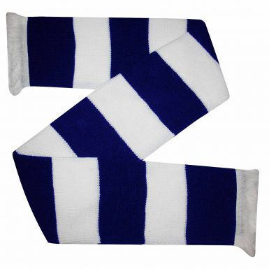 Chunky Navy Blue & White Bar Scarf