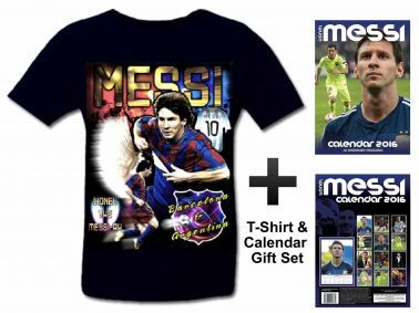 Lionel Messi 2016 Calendar & T-Shirt Gift Set