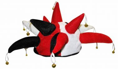 Red, Black & White Jester Hat with Bells