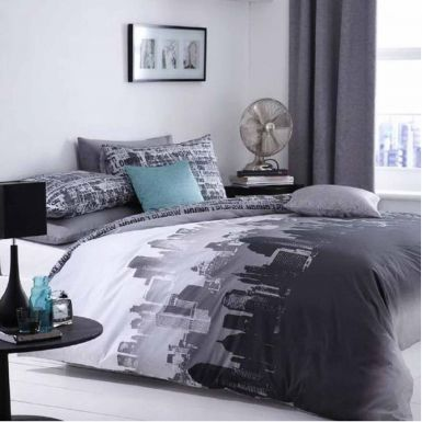 City Scape Skyline Double Duvet Cover Set