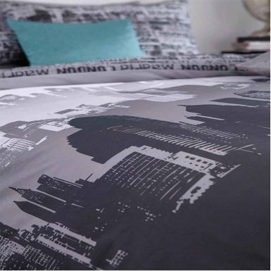 City Scape Skyline Double Comforter Cover Set