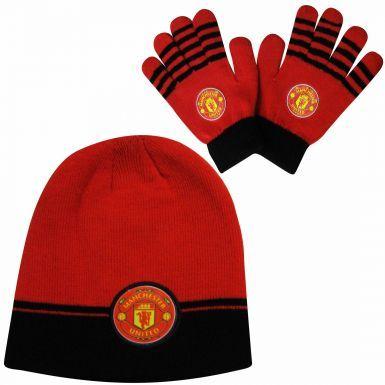 Kids Manchester Utd Hat & Glove Set