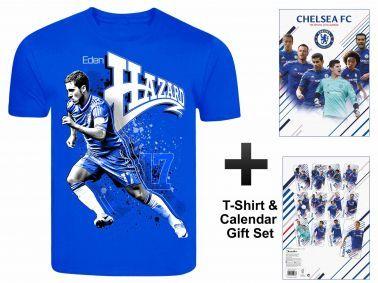Chelsea FC 2016 Soccer Calendar & Eden Hazard T-Shirt Gift set
