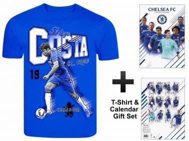Chelsea FC 2016 Soccer Calendar & Diego Costa T-Shirt Gift set