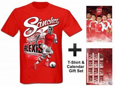 Arsenal FC 2016 Soccer Calendar & Alexis Sanchez T-Shirt Gift Set