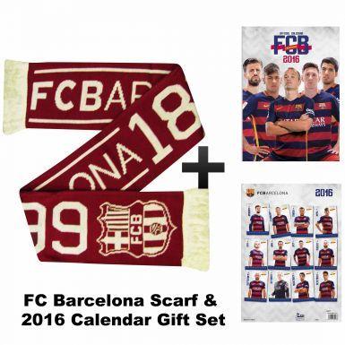 FC Barcelona 2016 Calendar & Scarf Gift Set