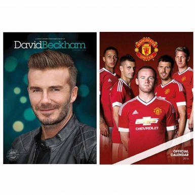 David Beckham & Man Utd 2016 Calendar Twin Set